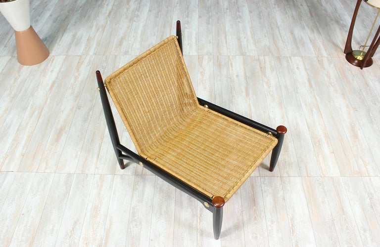 Mexican Modernist Wicker And Rosewood Lounge Chair By