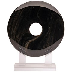 Mexican Obsidian with Gold Shine Disk Sculpture on Custom Acrylic Base