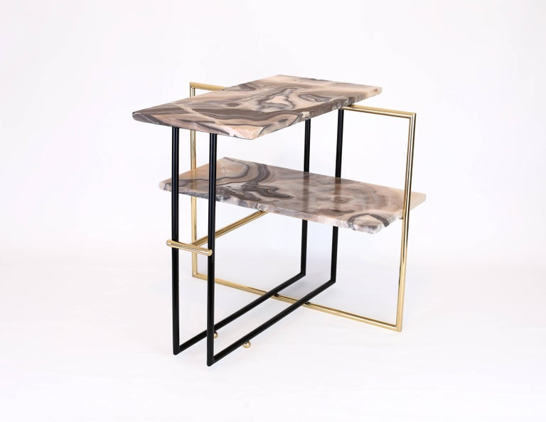 mexican onyx stone and brass u a side coffee table design by nomade atelier for sale at 1stdibs. Black Bedroom Furniture Sets. Home Design Ideas