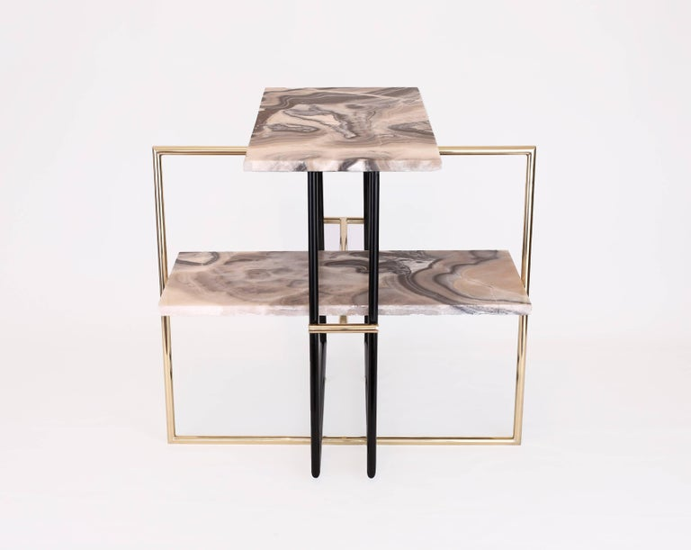 Hand-Carved Mexican Onyx Stone and Brass UÑA Side Coffee Table Design by Nomade Atelier For Sale