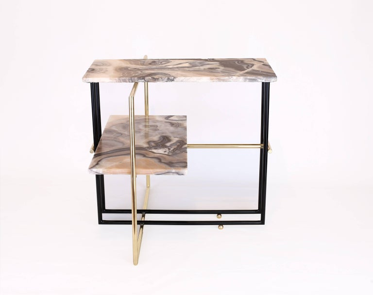 Contemporary Mexican Onyx Stone and Brass UÑA Side Coffee Table Design by Nomade Atelier For Sale