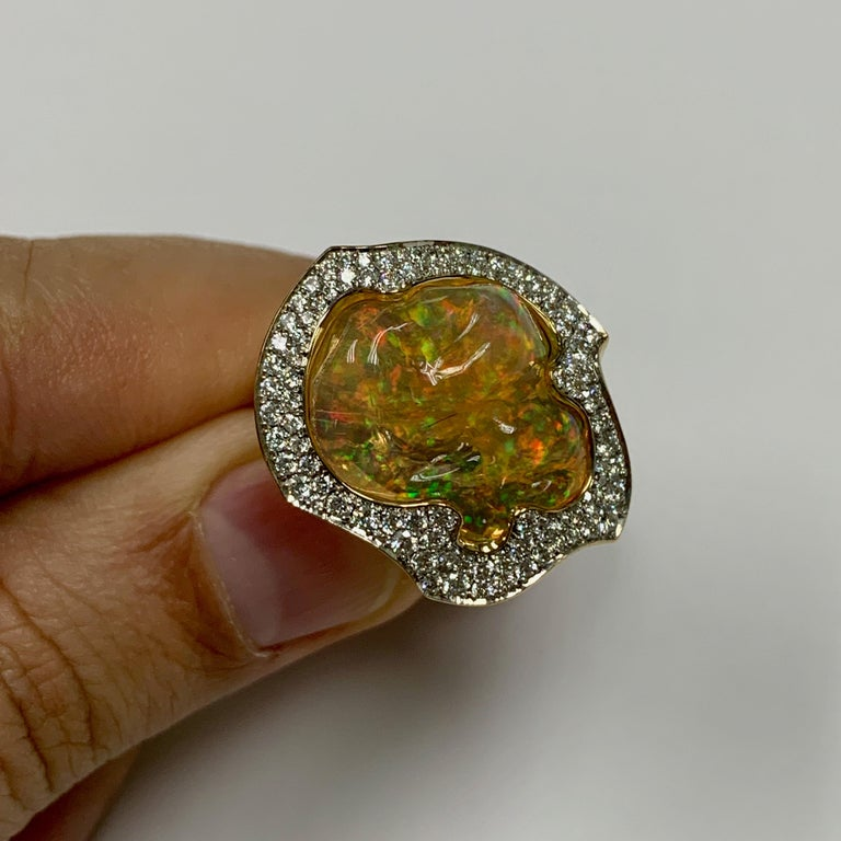 Contemporary Mexican Opal 10.6 Carat Diamonds One of a Kind 18 Karat Yellow Gold Ring For Sale