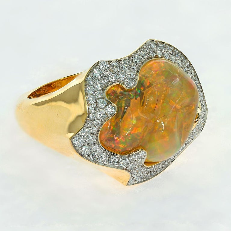 Sugarloaf Cabochon Mexican Opal 10.6 Carat Diamonds One of a Kind 18 Karat Yellow Gold Ring For Sale
