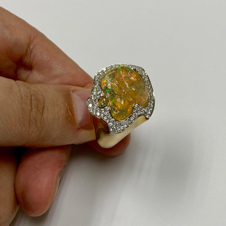 Mexican Opal 10.6 Carat Diamonds One of a Kind 18 Karat Yellow Gold Ring For Sale 1