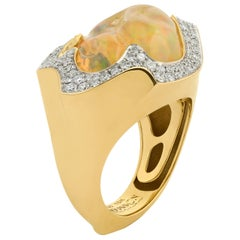 Mexican Opal 10.6 Carat Diamonds One of a Kind 18 Karat Yellow Gold Ring
