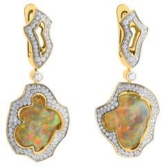 Mexican Opal 14.47 Carat Diamonds One of a Kind 18 Karat Yellow Gold Earrings