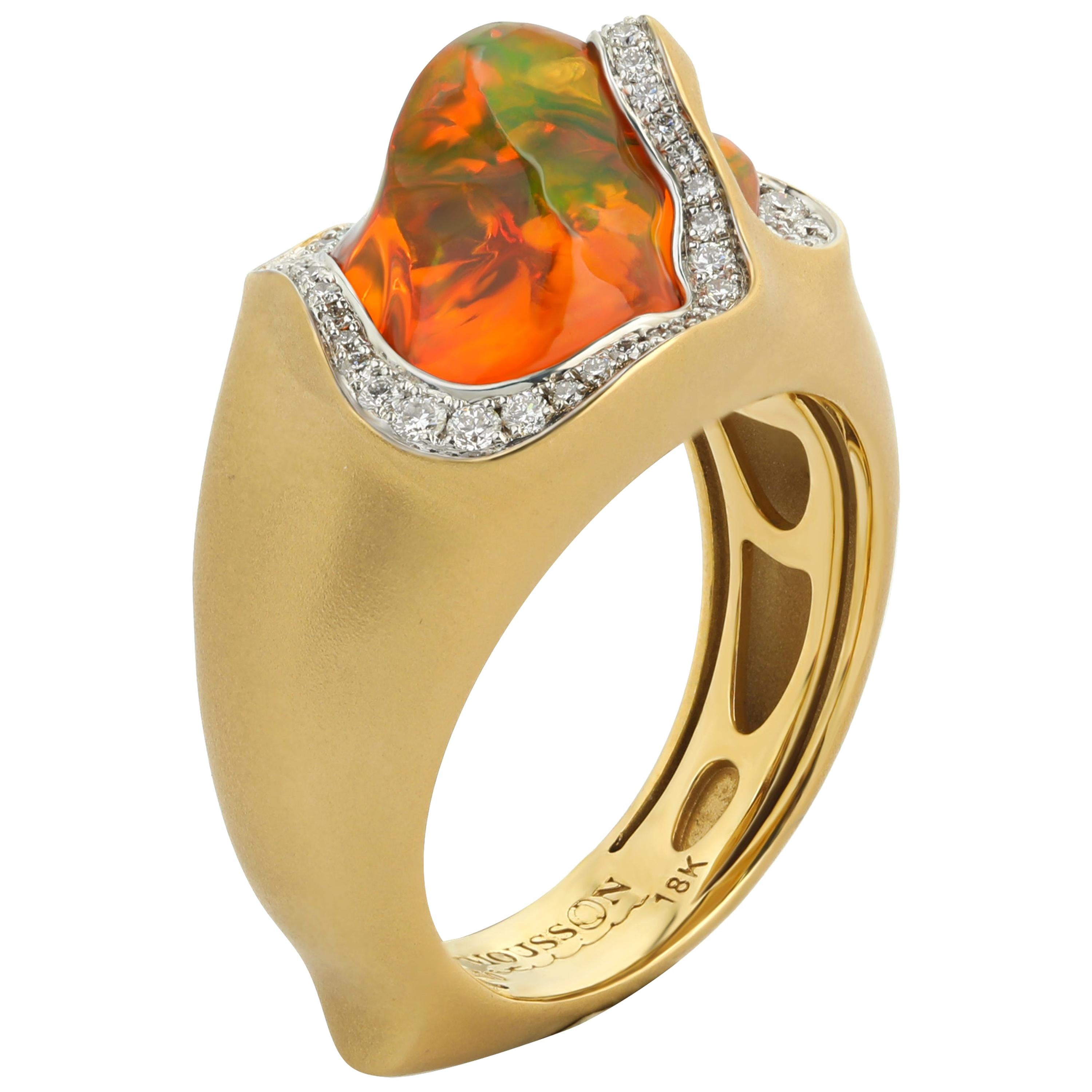 Mexican Opal 4.12 Carat Diamonds One of a Kind 18 Karat Yellow Gold Ring