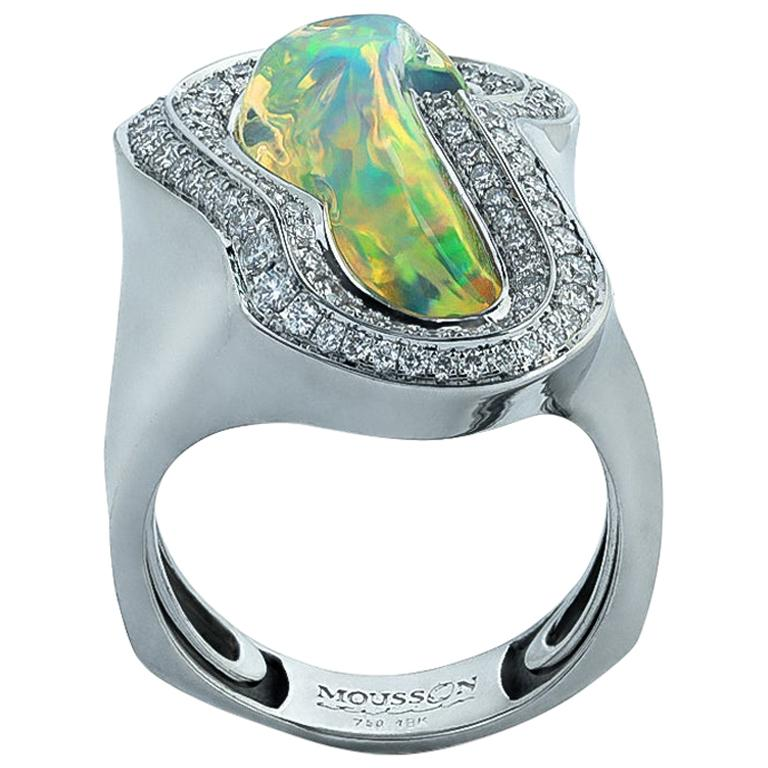 Mexican Opal 5.17 Carat Diamonds One of a Kind 18 Karat White Gold Ring