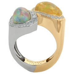 Mexican Opal 5.84 Carat Diamonds One of a Kind 18 Karat Yellow White Gold Ring