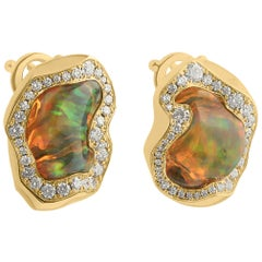 Mexican Opal 6.46 Carat Diamonds One of a Kind 18 Karat Yellow Gold Earrings