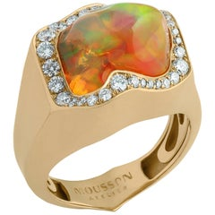 Mexican Opal 7.31 Carat Diamonds One of a Kind 18 Karat Yellow Gold Ring