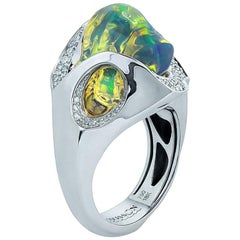 Mexican Opal 7.82 Carat Diamonds One of a Kind 18 Karat White Gold Ring