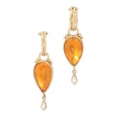 Mexican Opal and Diamond Teardrop Earrings in 22 Karat and 18 Karat Gold