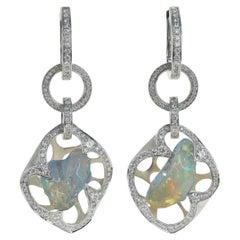 Mexikanischer Opal, Diamant - Einzigartige 18 Karat Weißgold Ohrringe