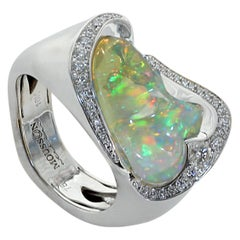 Mexican Opal Diamond One of a Kind 18 Karat White Gold Ring