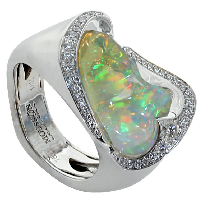Mexican Opal Diamond One Of A Kind 18 Karat White Gold Ring For