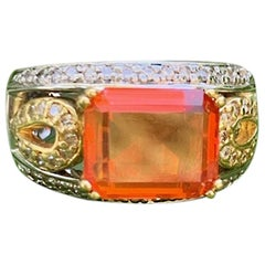 Mexican Opal 'Orange' 18 Karat White and Yellow Gold Ring - Size 7