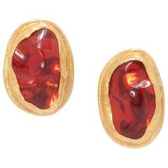 Mexican Opal Stud Earrings in 24 Karat Gold