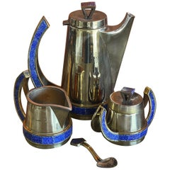 Mexican Plated Metal & Turquoise Four Piece Coffee Service Set