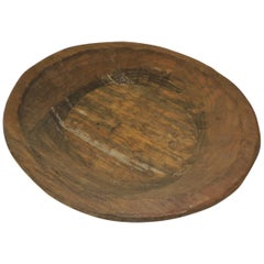 Primitive Mexican Round Hand Carved Rustic Bowl