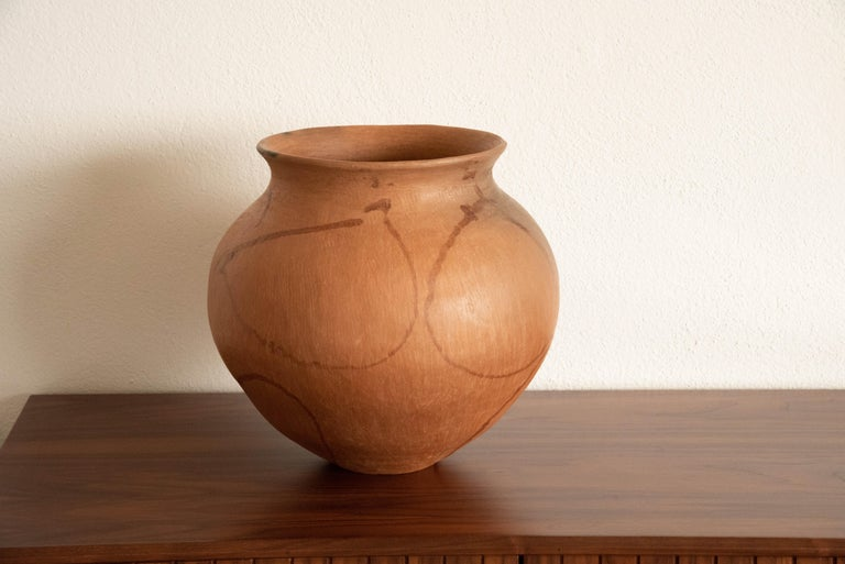 Mexican Rustic Natural Clay Folk Art Handmade Ceramic Vessel Terracotta For Sale 1
