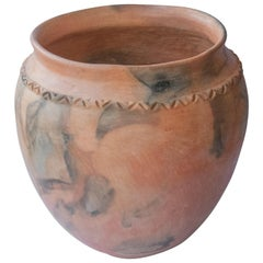 Mexican Rustic Planter Pot Folk Art Handmade Ceramic Vessel Terracotta Oaxaca