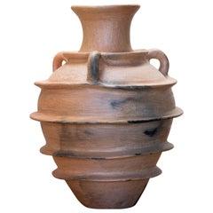 Mexican Rustic Pottery Three Handle Vase Decorative Ceramic Round Design Belt