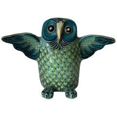 Mexican Sermel Papier Mâché Owl Sculpture