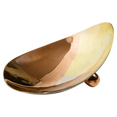 Mexican Silver Copper and Brass Curved Tray by Los Castillo
