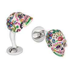 Mexican Skulls Cufflinks Hand-Painted Sterling Silver, Handmade in the US by FU