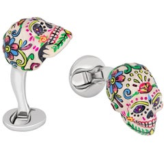 Mexican Skulls Cufflinks Hand-painted Sterling Silver - Handmade in the US by FU