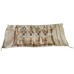 Mexican Southwestern Yei Navajo Style Pictorial Hand Woven Wool Rug Blanket