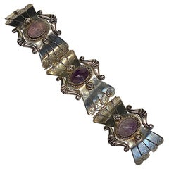 Mexican Sterling and Amethyst Cabochon Bracelet