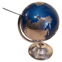 Mexican Sterling and Blue Enamel Desk Globe Rattler