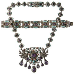 Mexican Sterling Necklace and Bracelet in the Style of Matilda Matl Poulat