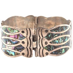 Mexican Sterling Silver Fish Abalone Design Cuff Bracelet