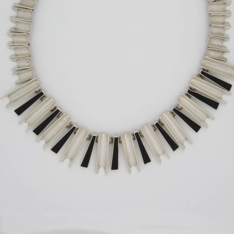 Attributed to Antonio Pineda, Mexican Sterling Silver and Onyx Modernist Necklace.  Stamped