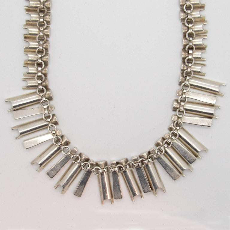 Women's Mexican Sterling Silver Modernist Necklace, Possibly Antonio Pineda For Sale