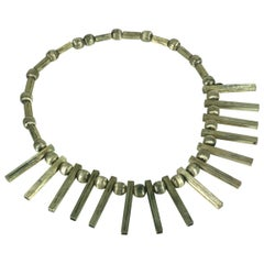 Mexican Sterling Spoke Modernist Necklace