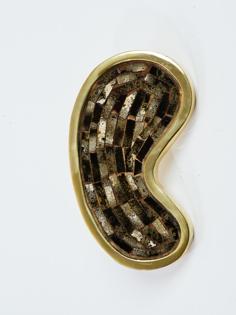 Mid-Century Modern Mexican Stone Inlay Brass Kidney Shape Door Handle For Sale