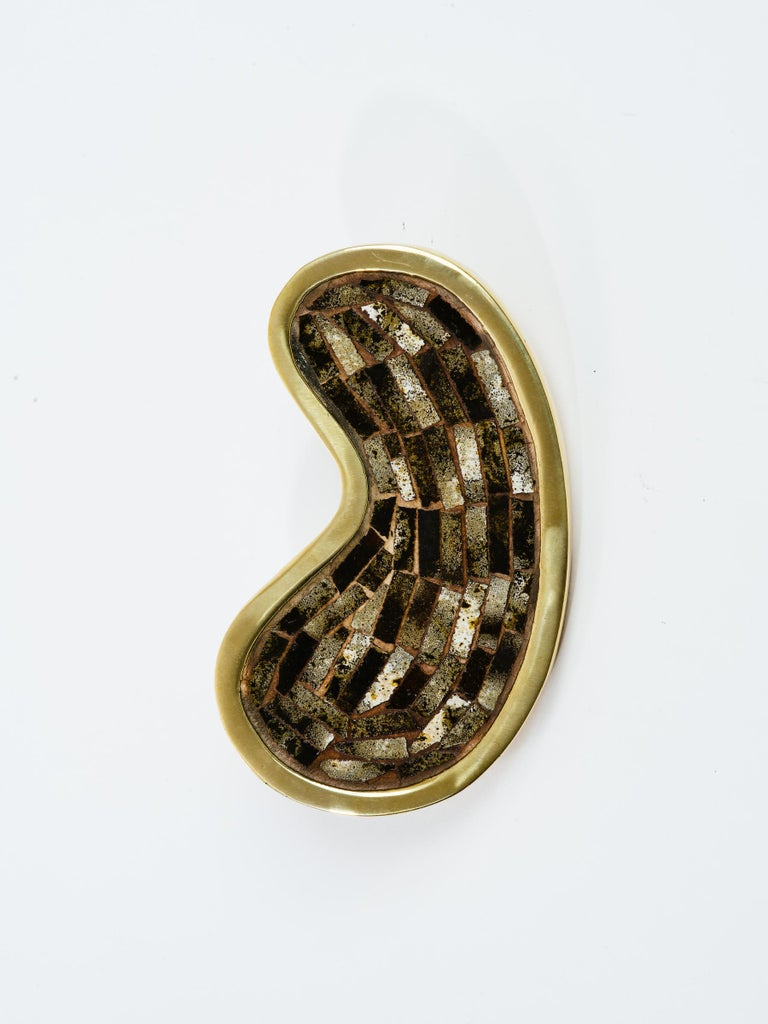 Metalwork Mexican Stone Inlay Brass Kidney Shape Door Handle For Sale