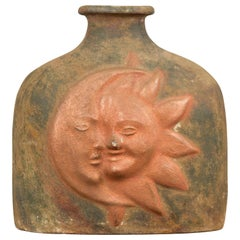 Mexican Sun and Moon Terracotta Vase with Copper Tones and Flaring Neck