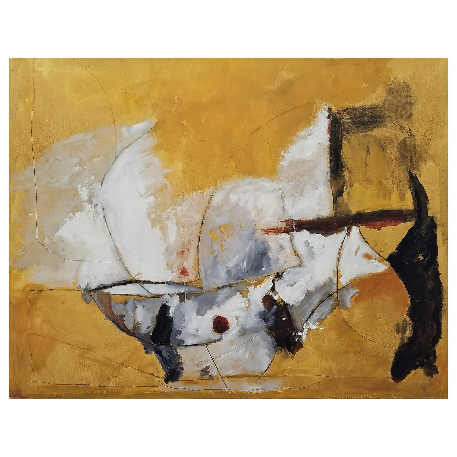 """""""Mexican Sun,"""" Gold, White and Black Abstract Painting, by Kathi Robinson Frank"""