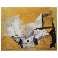 """Mexican Sun,"" Gold, White and Black Abstract Painting, by Kathi Robinson Frank"