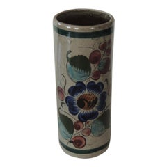 Mexican Tonala Blue and Grey Round Vase