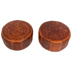 Mexican Tribal Decoration Leather Stools