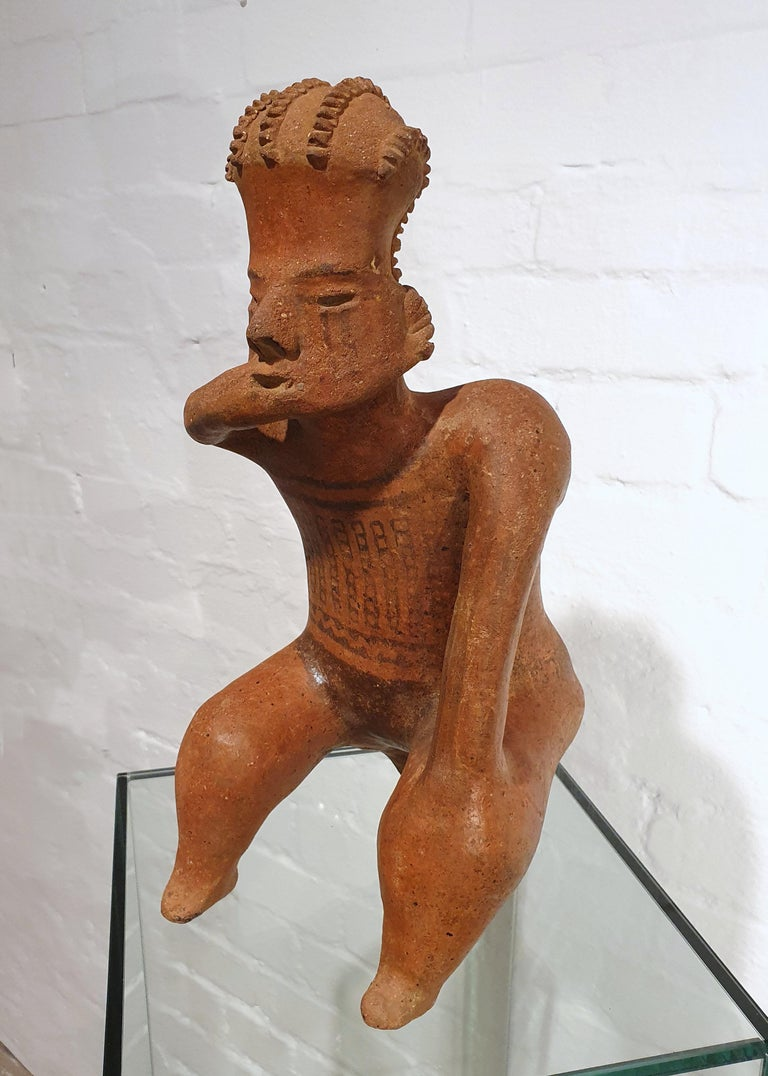 Hand-Crafted Mexican Tribal Red Clay Figure For Sale