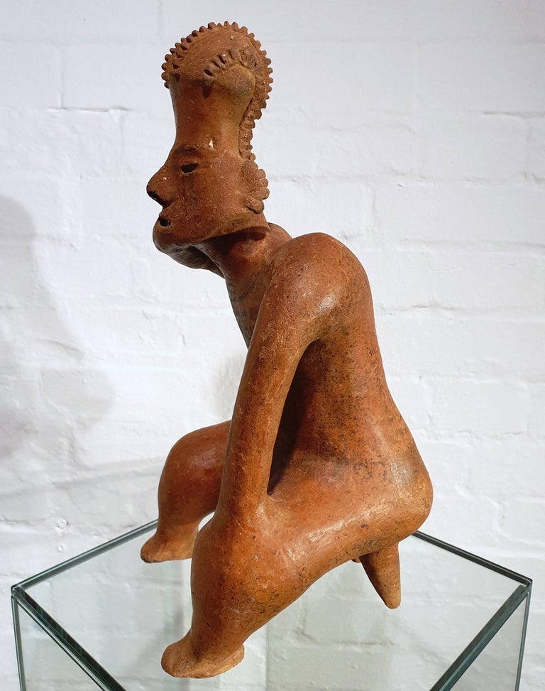 Terracotta Mexican Tribal Red Clay Figure For Sale