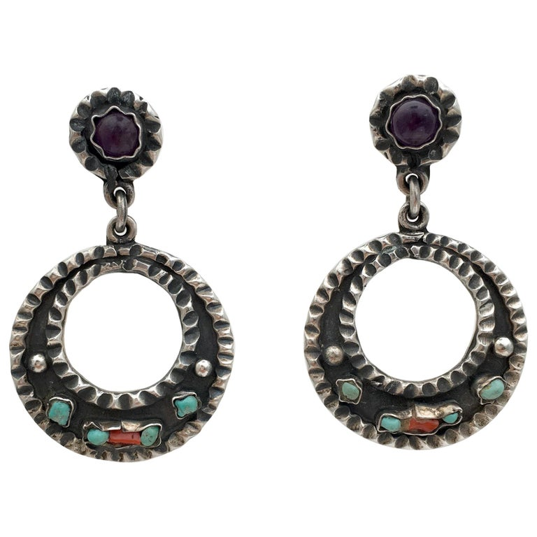 Mexican Vintage Jewelry Taxco Sterling Silver Gemstone Hoop Earrings Artisan  For Sale at 1stdibs