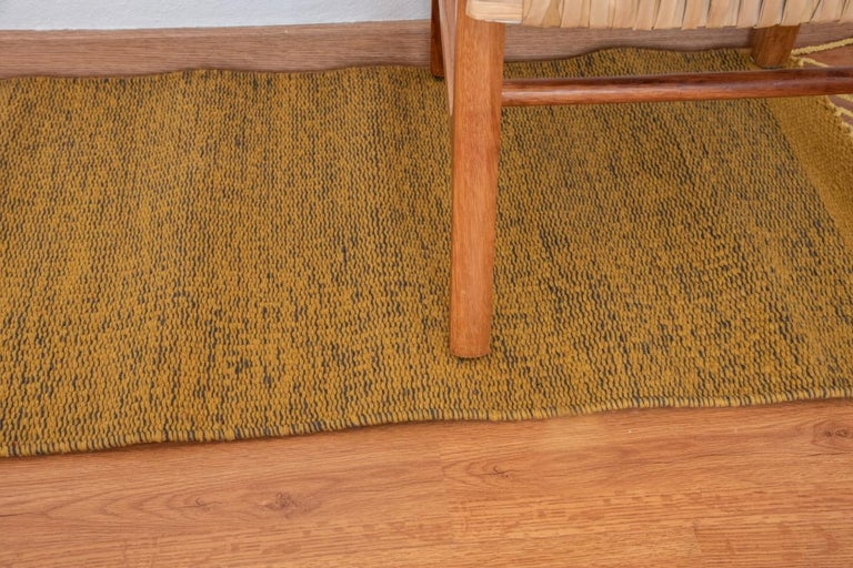 Mexican Wool Yellow Small Rug Handmade Oaxaca Hand Dyed